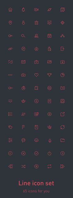 Free Download : 65 Fresh Line Icons (PSD, AI, EPS)