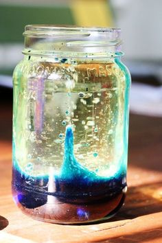 DIY Lava lamp! The basic idea is this: you mix 3 parts oil with one part water and ten or so drops of food coloring in a container with a tight fitting lid.