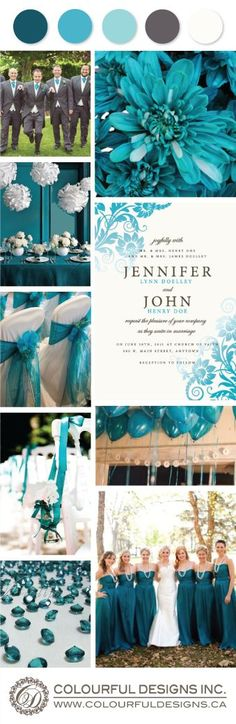 Shades of Teal, Cream and Grey.
