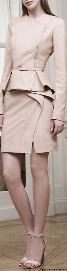 Elie Saab ● Resort 2015, Blush Double Breasted Leather Jacket