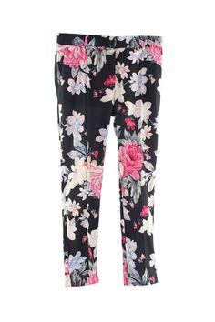 Romwe Floral Print Narrow Legs Pants