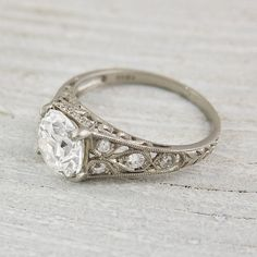 2.03 Carat Vintage Engagement Ring by ErstwhileJewelry on Etsy