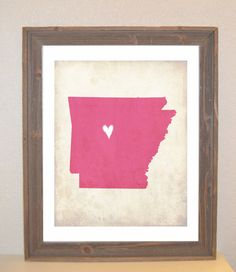 Arkansas Love State Customizable Art Print. $16.00, via Etsy.