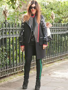 Tina Antoniades wearing Preen head-to-toe, Burberry shoes and Celine bag