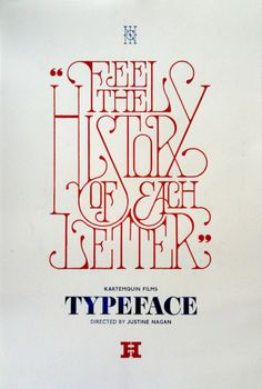 TYPEFACE Film poster. Hand drawn, etched into wood, individually inked up and printed on an Albion Press by Daren Newman.