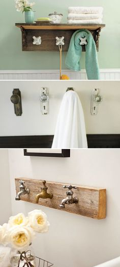 Mount Old Doorknobs, Vintage Taps as Towel Hooks