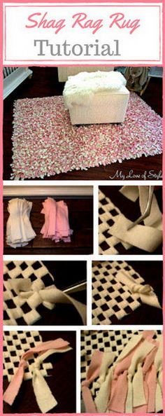 22 DIY Pink and Ivory Shag Rag Rug