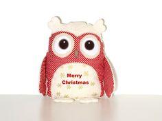 Handmade Snowflakes Owl Pillow  Christmas Owl by Customquiltsbyeva