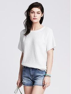 Boucle Short-Sleeve Pullover