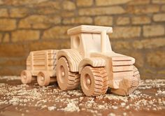 Wooden Farm Tractor and Wagon Toy by KringleWorkshops on Etsy