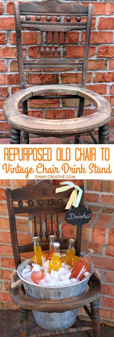 Repurpose an old vintage chair into a pretty drink stand! Perfect for entertaining, parties or bridal showers! | OHMY-CREATIVE.COM