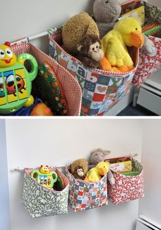 Hanging Fabric Storage Baskets | Click Pic for 25 DIY Small Apartment Decorating Ideas on a Budget | Organization Ideas for Small Spaces