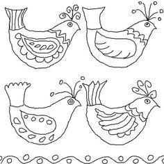 Folk Embroidery Folk Art Birds Coloring Pages – Color Bros Hungarian Embroidery, Folk Embroidery, Embroidery Patterns, Bird Template, Lilo E Stitch, Bird Coloring Pages, Coloring Sheets, Colouring, Bordados E Cia