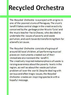 About the Recycled Orchestra.