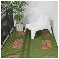 IKEA - RUNNEN, Decking, outdoor, artificial grass, You can choose to only have artificial grass in green or combine with other colors of RUNNEN. The floor decking is easy to care for and simple to secure in place by clicking the plates together. Artificial Turf, Artificial Plants, Artificial Grass Balcony, Fake Grass, Fake Plants, Laying Decking, Balkon Design, Outdoor Flooring, Outdoor Decking