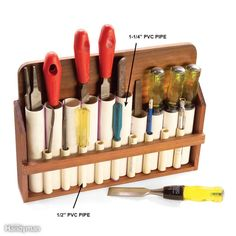 While this tool storage device may look like a variation on the Pan flute of Greek mythology, it's actually a great place to store tools that easily get lost—like chisels, files, pencils, scroll saw blades and hobby knives. For the fatter tools, use PVC cement to join short pieces of 1-1/4-in. PVC pipe side to side into a panpipe design, then add pieces of 1/2-in.pipe along the front of the flute for skinnier tools. Build a simple case around the pipes to create a floor and a back for…