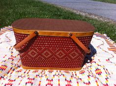 Redman picnic basket in pretty red weave by MadModWorldVintage