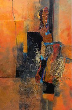 "Sunny Mindset, 180125 by Carol Nelson mixed media ~ 36 inches x 24 inchesMixed Media Contemporary Abstract Art Painting, ""Sunny Mindset"" © Carol Nelson Fine Art"