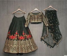 Buy dark green with blest embroidery work & foil work party wear lehenga choli online.This set is features a dark green blouse in dark green fully embellished with crystal, embroidery and sequins work.It has matching dark green lehenga in raw silk wit Pakistani Dresses, Indian Dresses, Indian Outfits, Bollywood Dress, Indian Lehenga, Silk Lehenga, Black Lehenga, Anarkali, Indian Attire