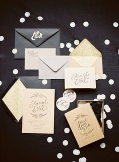 Cutesy champagne and black wedding invitations to match your colors #champagneandblack #wedding  For more ideas and inspiration like this, check out our websites at www.theweddingbel... and www.thepaperbelle...