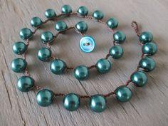 "Pearl crochet necklace ""Simply Pearls"" teal aqua blue pearl necklace classic bohemian glam modern boho fall autumn jewel tone"