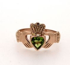 9ct Gold Claddagh Ring with birthstone by TheIrishJeweller on Etsy