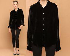 Black velvet button-up blouse!