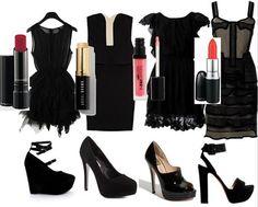 Vestido negro corto accesorios