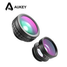 9178c4e3fe3 AUKEY Optic iPhone Lens 180 Fisheye Lens 110 Wide Angle Macro Mini Clip-on  Cell Phone Camera Lenses Kit for Samsung Android Smartphones