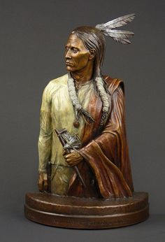 """New Day"", in a multiple patina; a western fine art bronze sculpture portraying the Native American brave, by Steven Knight. Find this and more beautiful fine art at www.artbyknight.com"