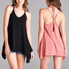 TATUM V neck open back tank - ROSE/BLACK Loose fit, V-neck, spaghetti strap tunic tank. Open back with strapping detail and spaghetti tie. Available in Rose & black.  Fabric 95% Polyester, 5% Spandex Made in U.S.A Bellanblue Tops Tank Tops