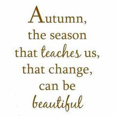 Autumn, the season that teaches us,  that change can be beautiful.  - Love fall