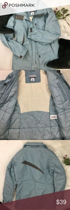 Columbia Insulated Jacket This jacket will keep you super toasty as winter approaches! The jacket is puffy, insulated, and oh so cozy! The sleeves have Velcro to keep heat from escaping. The two front pockets are closed by hidden zippers. The bottom has pull strings for a snug fit! The color is a dusty light blue it has a strip of Velcro hidden under the collar where a detachable hood might've been but I'm not entirely sure. It's still an awesome winter jacket!! Columbia Jackets & Coats…