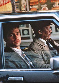 """Brad Pitt and Morgan Freeman in """"Se7en"""" (1995)"""