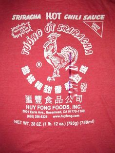 Sriracha Hot Sauce T Shirt Sz XL Chili Sauce Thailand Condiment Huy Fong Foods #RippleJunction #GraphicTee