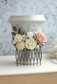 Pink Rose, White, Ivory, Pearl, Leaf Collage Flower Hair Comb. Bridesmaid Gift. Blush Pink and Ivory Wedding
