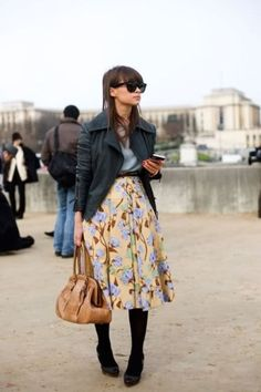 Long Floral Skirt and Leather Jacket