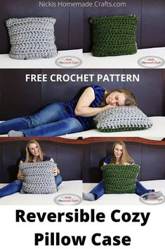 Learn how to crochet a Reversible Pillow Case using Jumbo Yarn with a huge crochet hook easily within 30 minutes. #free #crochet #pattern #freecrochetpattern #crochetpattern #pillow #crochetpillow #jumboyarn #yarn #reversible
