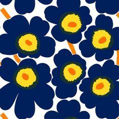 Pieni Unikko 2 Fabric in whie, d.blue, yellow – Bolt of Cloth Scandinavian Fabric, Marimekko, Blue Yellow, Icon Design, Printing On Fabric, Blinds, Cushions, Throw Pillows