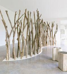 Moderner Paravent / Holz TIKIBAQ BLEU NATURE