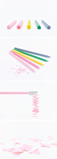 Brightly Colored Flower-Shaped Pencils That Shed Their Petals When Sharpened