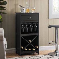 Trent Austin Design Bernardo Luxe Solid Wood Wall Mounted Wine Glass Rack & Reviews | Wayfair Wine Bottle Storage, Wine Bottle Design, Wine Glass Rack, Wine Bottles, Wine Rack, House Furniture Design, Home Furniture, Rack Design, Wine Cabinets
