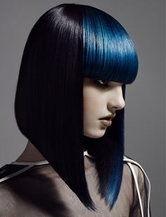 sharp bob contrasts with blunt electric blue fringe! Love it! @neilbarton