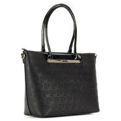 f7e9d355df6a Fekete Pabia táska nyomott mintával, nagy belső térrel. A táska füle lakk,  hosszú