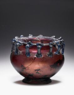 Vessel with 13 Handles. Date: 3rd - 4th century. Burgundy Container with Thirteen Handles. Roman