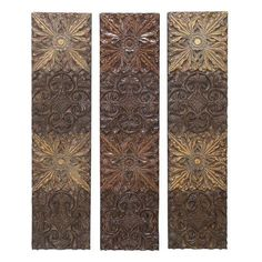 textured medallion wall decor set in brown, copper, and gold. Product: wall decor set Construction Material: PolystoneColor: Brown, copper and goldFeatures: Unique and elegant embossed designDimensions: H x W x D each Wall Decor Set, Metal Wall Decor, Unique Ceiling Fans, Brown Decor, Medallion Wall Decor, Neutral Color Scheme, Color Schemes, Brown Walls, Floral Wall