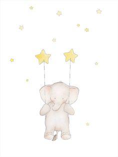 Set Elephant Star Moon Nursery Wall ArtSet Animal Nursery