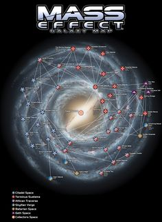 This is a unofficial map of the Milky Way as shown on the Mass Effect, Mass Effect 2 and Mass Effect 3 games. I think it's pretty accurate, but may cont. Mass Effect Galaxy Map Mass Effect Games, Mass Effect Art, Galaxy Map, Space Opera, Mass Effect Universe, Milky Way, Sci Fi, Geek Stuff, Deviantart