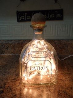 Lighted Bottle Crafted From Reclaimed Patron Tequila Bottle via Etsy