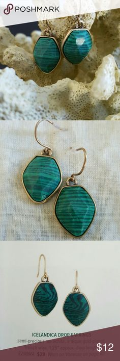Chloe & Isabel Icelandica Drop Earrings These semi-precious malachite earrings have antique gold-plated French wire. They are a wonderful addition to the Two-Stone Tassel Charm Necklace (separate listing). Includes C+I storage bag! Chloe + Isabel Jewelry Necklaces